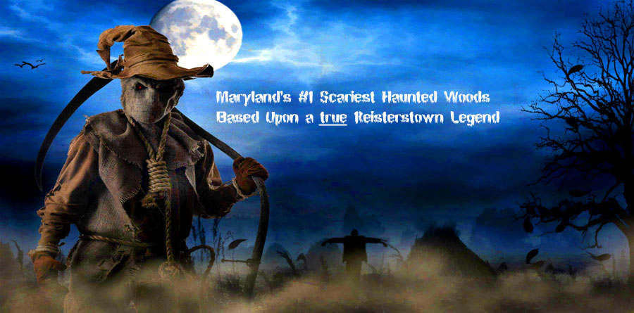 image of scary scarecrow walking through a foggy graveyard and the words Marylands Scariest Haunted Woods based upon a true Reisterstown Legend - Melinda